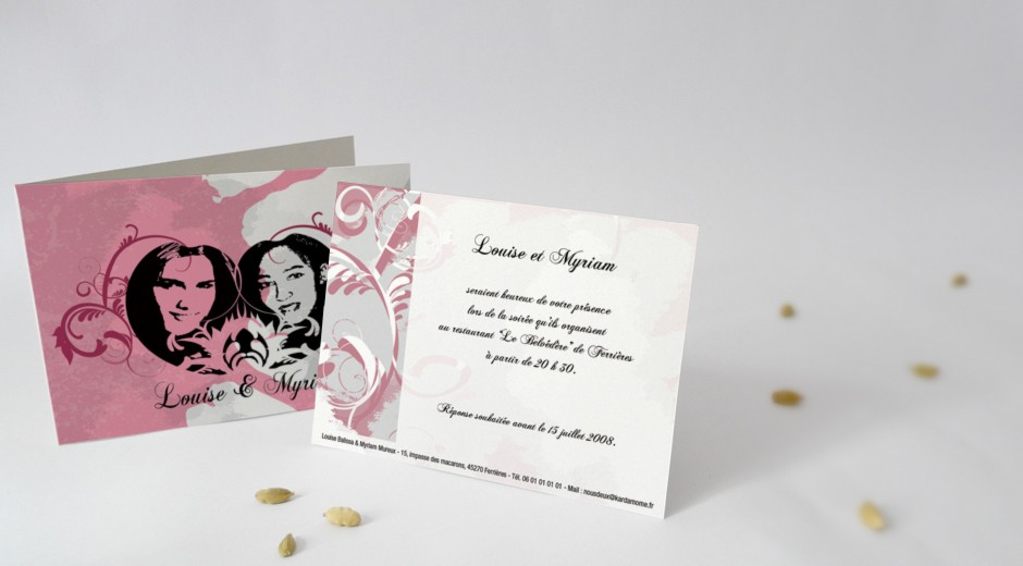 carton d 39 invitation assorti votre faire part de mariage mod le idylle. Black Bedroom Furniture Sets. Home Design Ideas