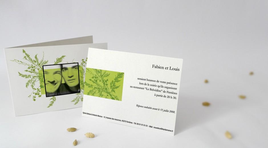carton d 39 invitation assorti votre faire part de mariage mod le herbier. Black Bedroom Furniture Sets. Home Design Ideas